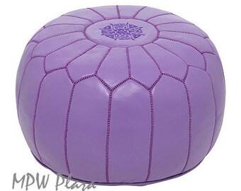 Sale-Purple Moroccan Leather Pouf/Ottoman