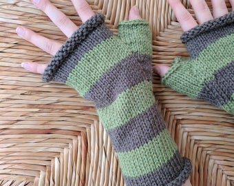 Hand Knit Green and Brown Stripe Fingerless Gloves / Striped Gloves / Handknit Glove / Texting Glove