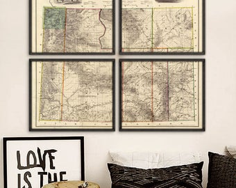 """Wyoming map 1883, Vintage map of Wyoming state in 5 sizes up to 60x48"""" (150x120 cm) Wyoming map in 1 or 4 parts - Limited Edition of 100"""