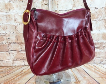 Vintage Shoulder Bag Purse Handbag By Adrian Gold London Oxblood Real Leather Hippy Boho Chic Bohemian Festival Made In England  c 1970s