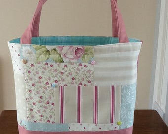 quilted  patchwork tote bag/shopping bag/lunch bag