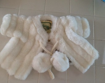 Cabbage patch doll white fun fur coat