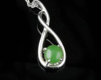 Silver Infinity Jade Pendant, 0900