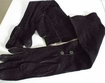 Vintage Ladies Gloves 1940's Black Fine Soft Suede Long Opera Gloves Buttons on Wrist  size 6 1/2