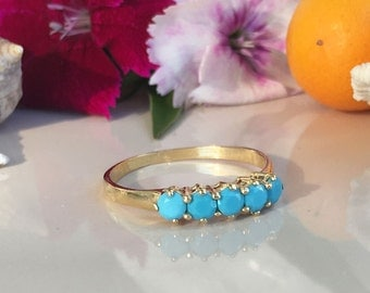20% off-SALE!! Turquoise Ring - Sleeping Beauty Turquoise - December Birthstone - Gold Ring - Turquoise Jewelry - Prong Ring - Tiny Ring
