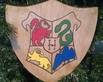 Handcrafted Wooden Hogwarts Crest Shield with Hanger