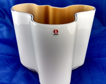 "Aalto vase, Iittala of Finland, cased glass white / tan, 6 1/4"" high"