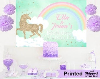 Unicorn Glitter Personalized Party Backdrop - First Birthday Cake Table Backdrop- Baby Shower Backdrop, Rainbow Unicorn Photo Backdrop