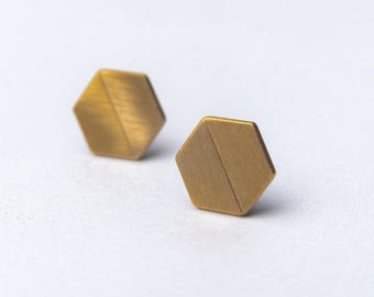 minimal bronze earrings - geometric earrings