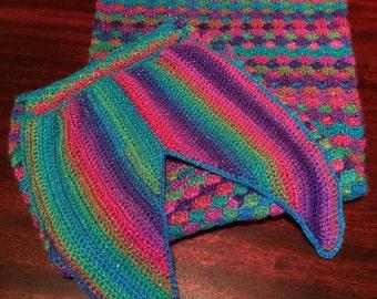 Baby Mermaid Tail Blanket - Rainbow Crochet - Glitter - Mermaid