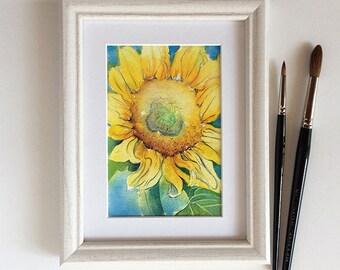 Original watercolor painting: Sunflower painting 4x6 inches  - bright yellow flower - original gift for gardener - nature art - original art
