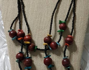 Multi colored wood necklace