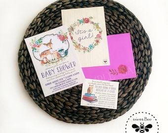 Woodland Baby Shower Invitations with Matching Bring a Book Card and Envelope Set / Woodland Shower Suite Set