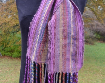 Purple Striped Handwoven Scarf