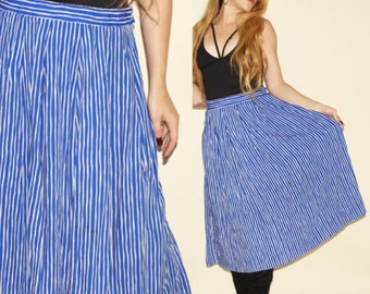 Vintage 80's Striped Skirt High Waisted Pleated Full Skirt Blue White Striped Pendleton Retro 1980s Skirt M/L