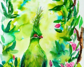 Bird Original watercolor painting, birds painting, birds wall art, gift for her, nature art