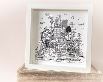 London art. Giclee print. Black and white.