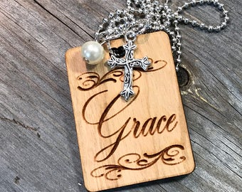 Grace Necklace, Faith Based Jewelry, Laser Engraved, Customized Jewelry, Statement Necklace