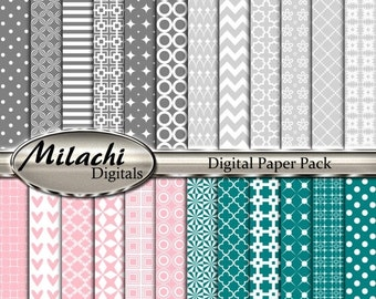 60% OFF SALE Gray Pink Teal Digital Paper Pack, Scrapbook Papers, Commercial Use - Instant Download - M222