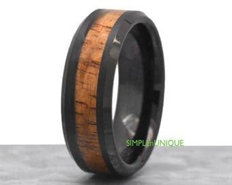 Unique Tungsten Wedding Band Hawaiian Koa Wood Inlay Tungsten Wood Ring Black Mens Promise Ring for Him Mens Tungsten Wedding Wood Ring