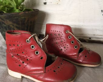 Vintage Children's Red Leather Boots