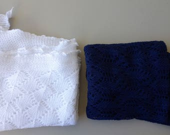 Mint condition vintage knitted cotton scarf lace Laura Ashley 1980s eighties blue white shawl wrap baby blanket crochet