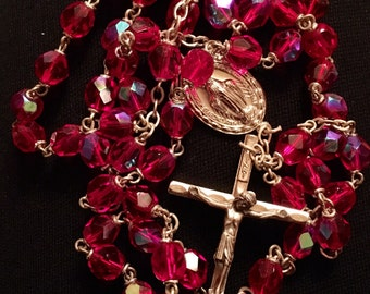 Red Crystal Rosary Italy
