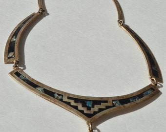 Vintage Sterling Silver Abalone Inlay Bib Necklace