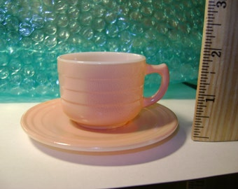 Vintage Hazel Atlas Little Hostess Pink cup & saucer (Platonite)
