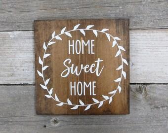 "Handmade Wooden Signs - Home Sweet Home - Rustic Wood Sign - Housewarming Gift- Wooden Wall Art - 9.25""x9.25"" Dark Walnut or Gray"
