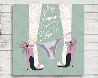 Bathroom Art- Humor, Lace, Cute, Girl, Shoes, London, France, Instant Download, Shabby Chic, Print, Paris, Funny, Bath, Printable Art