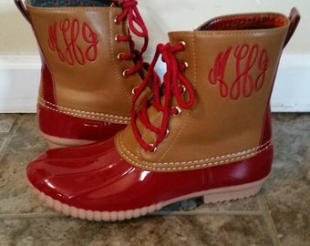 Monogrammed Maroon Duck Boots, Maroon Duck Booties, Personalized Duck Boots, Size 7 only