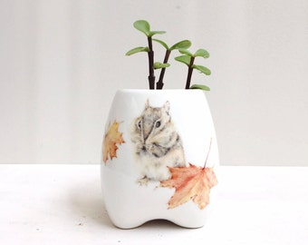 Chipmunk Ceramic Planter, Handmade Plant Pot, Indoor Flower Pot, Mother's Day Gift