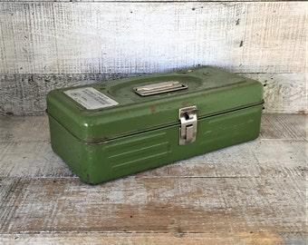 Metal Box Vintage Industrial Box Green Metal Tool Box Utility Box Vintage Metal Toolbox Green Metal Box Industrial Storage Rusty Metal Box