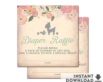 "Girl Deer Baby Shower Diaper Raffle Tickets 3x3"" Floral Woodland Baby Shower Printables // INSTANT DOWNLOAD //  No.940BABY"