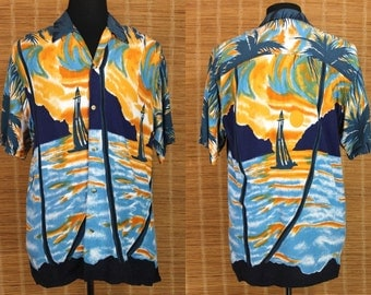 Hawaiian Shirt.....90's Thum's Up Rayon Sunset Scene Yacht Rock Shirt