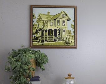 SALE Vintage framed needlepoint