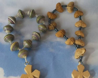 Handmade African Catholic Chaplet, one decade prayer beads or Rosary. Choose one of either Uganda paperbeads or heart shaped seedpod beads.