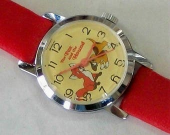 Vintage Bradley DISNEY Fox and the Hound Watch! Wind up! MINT CONDITION!
