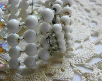 Vintage • Classy White and Iridescent Stack Bead Wrap Around Bracelet | Beaded Costume Retro Kitsch Bracelet Plastic Jewelry | Made in USA