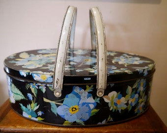 Vintage Tin with Handles, Black with Blue Floral Pattern, Pansies, Oval Biscuit Tin with Lid