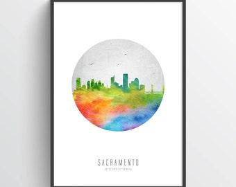 Sacramento California Skyline Poster, Sacramento Print, Sacramento Art, Sacramento Decor, Home Decor, Gift Idea, USCASA20P