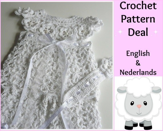 Crochet Patterns In English : 3 English Dutch Crochet Patterns Baby Set White Pearl:
