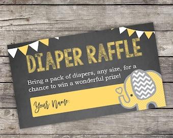 Yellow Elephant Diaper Raffle Tickets - Instant Download - Chalkboard Elephant Baby Shower Insert - Diaper Raffle Tickets - Baby-104