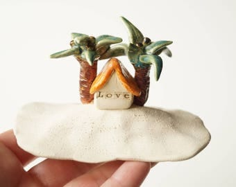 Beach House, Ceramic Miniature House, Housewarming Cake Topper, Ceramic House, Little Home Sculpture, Ceramic Cake Topper by Her Moments