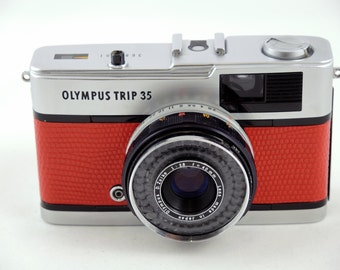 Olympus Trip 35 in red lizard leather