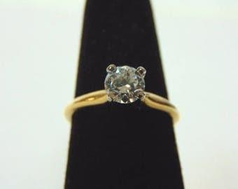 Womens Vintage Estate 14k Gold & Solitaire Diamond Ring 3.0g  E1527