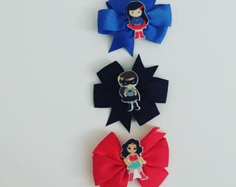 Superhero hair clips