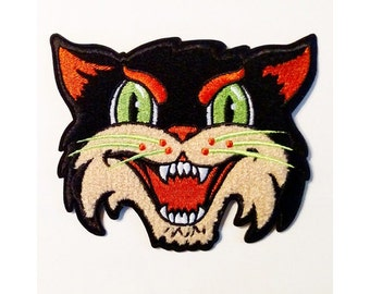 Halloween Cat embroidered chenille patch