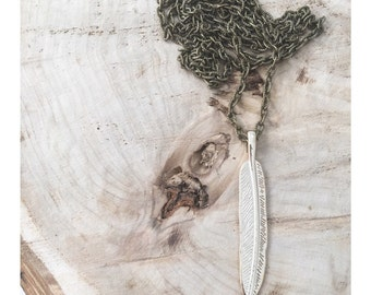 Feather Jewelry | nature Jewelry | Brass Necklace | forest necklace